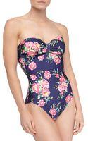 Splendid Roseprint Onepiece Bandeau Swimsuit - Lyst