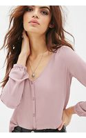 Forever 21 Collarless V-neck Blouse - Lyst