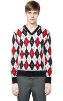 Moncler Gamme Bleu Argyle Wool Jacquard Sweater - Lyst