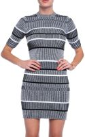 T By Alexander Wang Ribbed Knit Short Sleeve Dress - Lyst