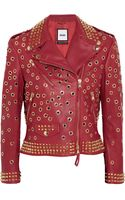 Moschino Embellished Leather Biker Jacket - Lyst