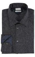 Paul Smith Black Tiny Leaf Print Cashmere-blend Shirt - Lyst