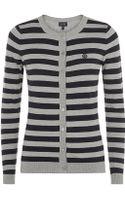 Armani Jeans Striped Cardigan - Lyst
