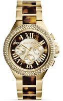 Michael Kors Tortoiseprint Goldtone Camille Glitz Watch 43mm - Lyst