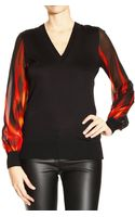 Roberto Cavalli Sweater V Neck Wool with Sleeve Silk Print Fire Waves - Lyst