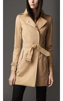 Burberry Midlength Covered Placket Gabardine Trench Coat - Lyst