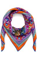 Liberty London Orange Peacock Garden Silk Twill Scarf - Lyst
