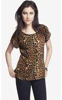 Express Leopard Print Flutter Sleeve Top - Lyst
