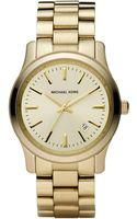 Michael Kors Runway Goldtone Stainless Steel Bracelet Watch - Lyst