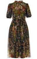 Dolce & Gabbana Floral and Key-print Silk-chiffon Dress - Lyst