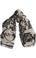 McQ by Alexander McQueen Laceprint Silkchiffon Scarf - Lyst