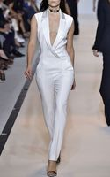 Mugler Off White Fitted Cady and Draped Satin Jumpsuit - Lyst