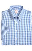 Brooks Brothers Non-iron Regular Fit Gingham Short-sleeve Sport Shirt - Lyst
