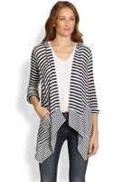 Splendid Hooded Draped Striped Cardigan - Lyst