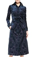 Burberry Prorsum Midi Velvet Patterned Coat - Lyst