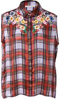 Preen By Thorton Bregazzi Plaid Sleeveless Shirt with Floral Embroidery - Lyst
