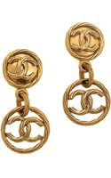What Goes Around Comes Around Vintage Chanel Rope Cc Round Drop Clip On Earrings - Lyst