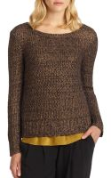 Eileen Fisher Metallic Balletneck Sweater - Lyst