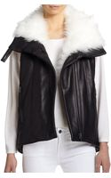 Helmut Lang Fur-collar Leather Vest - Lyst