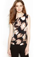 Calvin Klein Brushstroke Print Pleated Neck Blouse - Lyst