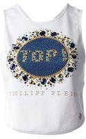 Philipp Plein Embellished Cropped Vest - Lyst