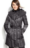 Vince Camuto Hooded Belted Down Puffer Coat - Lyst