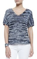 Eileen Fisher Brushstroke Vneck Top Denim - Lyst