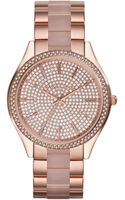 Michael Kors Midsize Rose Golden Stainless Steel Slim Runway Threehand Glitz Watch - Lyst