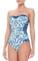 Jets by Jessika Allen Floralprint Bandeau Onepiece Swimsuit - Lyst