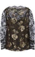 Oscar de la Renta Metallic Chantilly Lace Blouse - Lyst