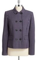 Jones New York Plaid Double-breasted Coat - Lyst