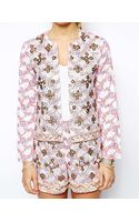 Asos Jacket in Floral Print and Embellishment - Lyst