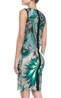 Roberto Cavalli Sleeveless Backzip Printed Sheath Dress - Lyst
