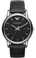 Emporio Armani Leather Strap Watch - Lyst