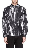McQ by Alexander McQueen Scratch Paint Stripes Print Poplin Shirt - Lyst