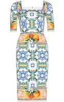 Dolce & Gabbana Silkcrepe Printed Dress - Lyst