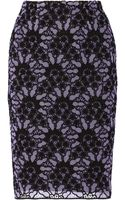 Lela Rose Embroidered Cottonblend Lace Pencil Skirt - Lyst