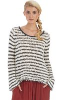 Free People Striped Fuzzy Sweater - Lyst