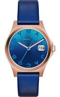 Marc By Marc Jacobs The Slim Rose Goldtoned Pvd and Leather Watch Blue - Lyst