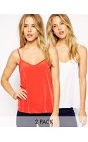 Asos Woven Cami Top 2 Pack Save 17 - Lyst