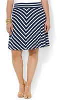 Lauren by Ralph Lauren Plus Stripe Jersey Skirt - Lyst