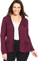Jones New York Collection Plus Size Faux-leather-trim Cardigan - Lyst
