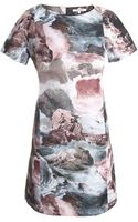 Carven Printed Satin Dress - Lyst