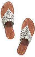 Tory Burch Floral Perforated Flat Thong Sandal - Lyst
