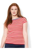Lauren by Ralph Lauren Plus Size Striped Chambraytrim Tee - Lyst