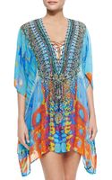Camilla Short Lace-up Silk Caftan Dress - Lyst