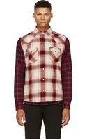 Diesel Red Contrasting Plaid S_tor Shirt - Lyst