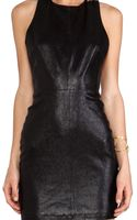 Alice + Olivia Alice Olivia Layne Fitted Leather T Back Dress in Black - Lyst