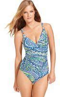Lauren by Ralph Lauren Paisleyprint Tummy-control Onepiece Swimsuit - Lyst
