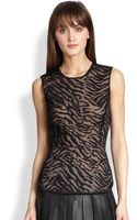 BCBGMAXAZRIA Embroidered Sheer Peplum Top - Lyst